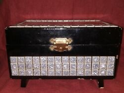Vintage Japanese Jewelry Box Music Box Black Lacquer Mt Fuji 1950s Made In Japan
