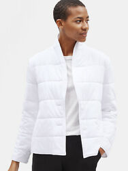 Nwt Eileen Fisher Whit Quilted Organic Cotton Jersey Shawl Collar Jacket Size L