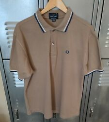 Fred Perry Mens Tan Blue White Tipped Cotton Pique Made Portugal Polo XL EUC $29.99