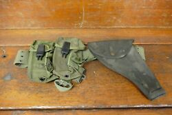 Vietnam War U.s. Military Officerand039s Pistol Belt W/holsters And Mag Pouches
