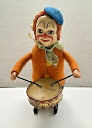 Vintage 1930and039s Schuco 986/1 Solisto Clown Drummer Tin Wind Up Toy Germany Works