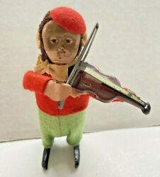 Vintage Schuco Wind Up Toy Monkey Playing Violin Red/green Made In Germany Works