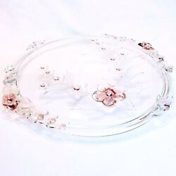 Crystal Cherry Blossom Time Cake Plate Toska Walther Glass West Germany 14 1/4
