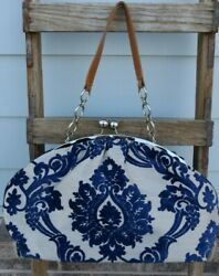Glenda Gies ROXANNE F1929 BLUE CHENILLE MOSAIC ON SILVER bag purse handbag $139.99
