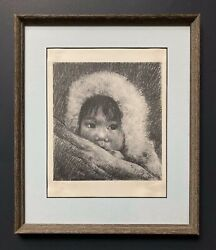 Vintage Graphite Drawing Print Of Canadian Inuit Child By G. Gely Oroluk 1966