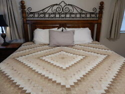"""Vintage Pennsylvania Amish Quilt King Hand Made Country Diamond Large 110"""" X 96"""""""