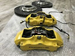 2009 Porsche 911 997.2 Turbo Front Calipers And Rotors With Brake Pads Pccb Carbon