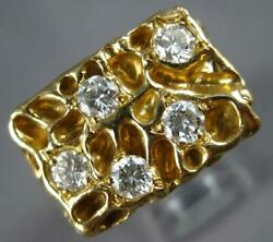 Estate Large .75ct Diamond 18kt Yellow Gold 3d Classic Nugget Solid Mens Ring