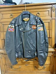 Vintage Harley Davidson Leather Jacket With Patches And Pins