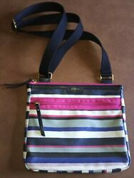 Fossil Crossbody 10quot; X 9quot; Striped Coated Canvas VGUC $19.95