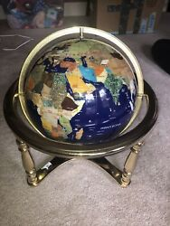 Art 18 Inch Blue Lapis Ocean Table Top Gemstone World Globe Gold Stand W Chip