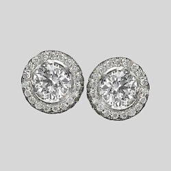 Affordable 14kt White Gold Round Cut Diamond Stud Earrings 2.02 Ct F/si1