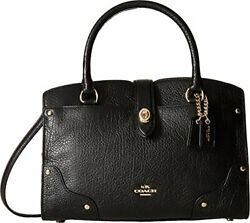 COACH Women#x27;s Grain Leather Mercer 24 Satchel LI Black Satchel $109.99