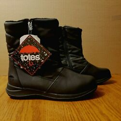 Women#x27;s Winter Totes Boots Waterproof Sue Black Size 8 Double Zippers NWT $39.98