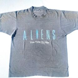 """Aliens 1986 Movie Promo Double Sided Vintage Shirt """"this Time It's War"""" Size L"""