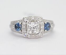 Princess Cut Diamond And Sapphire Three Stone Engagement Ring In 14k White Gold