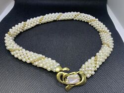 18k Yellow Gold Pearl And Mother Of Pearl Collar Necklace