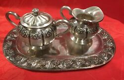 Small Sterling Silver Sugar Bowl Cream And Tray Set Handcrafted Sanborns Mexico