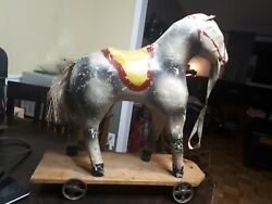 Early Paper Mache Horse Pull Toy