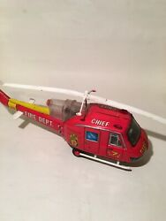 Rare 50's Tn Nomura Japan Tin Fire Dept Chief Helicopter Battery Operated