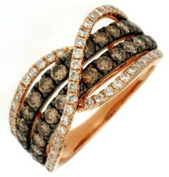 Wide 1.70ct White And Mocha Diamond 14kt Rose Gold Multi Row Criss Cross Love Ring