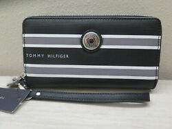 Tommy Hilfiger Black Gray White Striped Large Double Zip Wristlet Phone Wallet $44.99