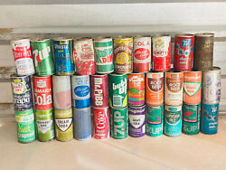 Lot 50 Vintage Pull Tab Soda Pop Cans Mountain Dew Rc 7up Gatorade Wow