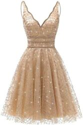 Ainidress Womenand039s Tulle Prom Gown Short Homecoming Dresses Crystal Sparkle Party