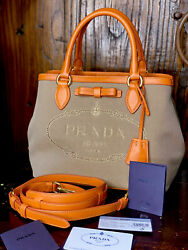 Prada Canvas Tote With Lesther Strap $585.00