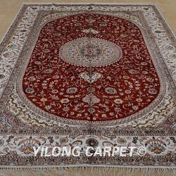 Yilong 6and039x9and039 Handknotted Silk Area Rugs Home Decor Oriental Red Carpet 1225