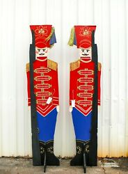 Two Life-size Toy Soldiers Nutcracker 8-foot Christmas Decoration Porch Greeters