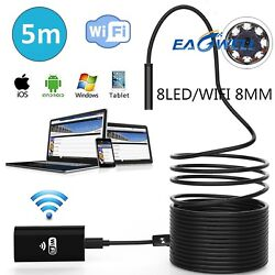 Us 1m5m 8 Leds Wireless Endoscope Wifi Borescope Inspection Camera For Mobiles