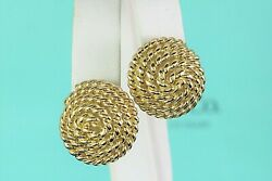 4200 And Co 18k Yellow Gold Twist Rope Circle Omega Back Huggie Earrings