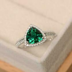 Trillion Cut Green Emerald Halo Engagement Ring 14k White Gold