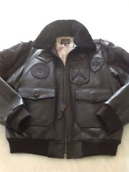 Avirex G1 Flight Jacket In Black With Blackout Stealth Badges Large New