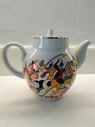 Teapot Porcelain Ussr Antique Hand-painted Very Rare, Red Army, Heroes