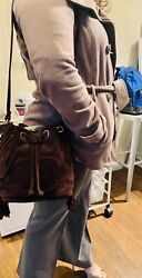 Drawstring Bucket Bag Brown Suede / Shipping Included