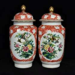 Chinese Color Porcelain Hand-made Exquisite A Pair Flowers And Birds Pot 1426