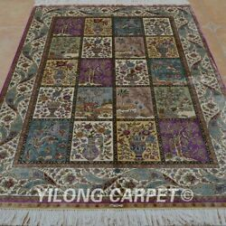 Yilong 4'x6' Hand Knotted Silk Rugs Four Seasons Family Room Carpet 0636