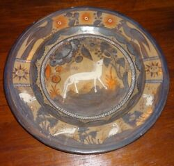Vintage Mexico Tonala Burnished Pottery Charger Wall Hanging 15 3/4