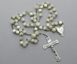 French, Antique Large Rosary. Silver And Mother Of Pearl. Crucifix. Cross. Rosarie