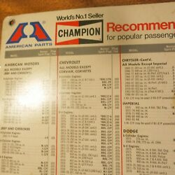 2 Vintage Champion Spark Plug Charts 1960s 1970s Car Truck Snowmobile Boat Motor