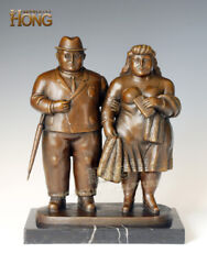 13'' Art Deco Sculpture Man And Man Couple Going Out Bronze Statue