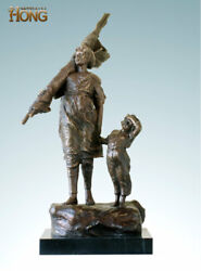 23and039and039 Art Deco Sculpture Go To Sea Woman Take Fishing Net Boy Statue