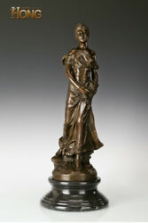 26and039and039 Art Deco Sculpture Maiden Woman Girl Hold Flowers Rose Bronze Statue