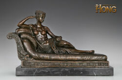 20'' Art Deco Sculpture Princesse Marie Woman Lying On The Bed Bronze Statue