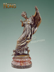 23and039and039 Art Deco Sculpture Woman Girl Long Dress Dancer Hold Pearl Statue