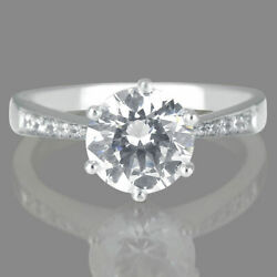 2.42 Ct G/si2 Certified Round Cut Diamond Engagement Ring 14k White Gold