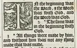 1611 King James Bible Leaf John 1 In The Beginning Was The Word... Word Was God