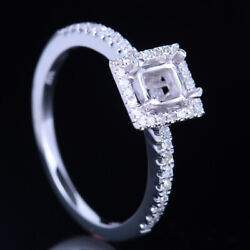 Natural Diamonds Semi Mount Ring 4x4mm Cushion Solid 18k White Gold Fine Jewelry
